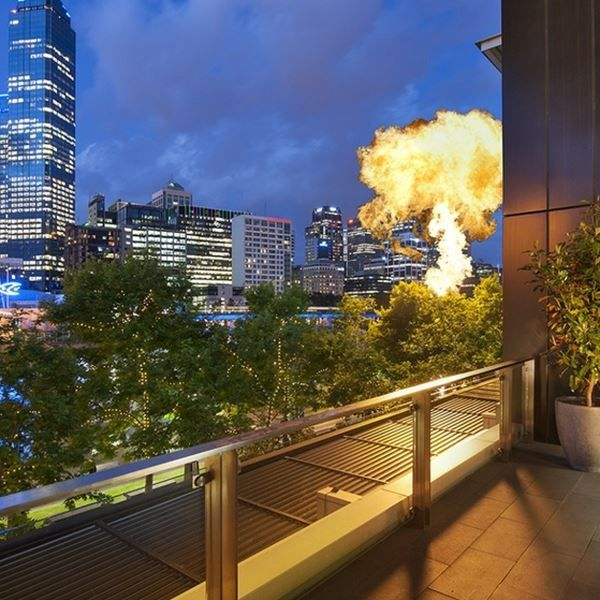 The terrace at the Crown Melbourne overlooking the city view. Performed at Crown many times. It doesn't help a comedian, just before the punchline, if one of those big gas fires lights up behind him.