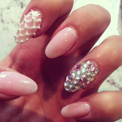 pink nail polish with diamante nail art  nail art*  Pinterest  Nail