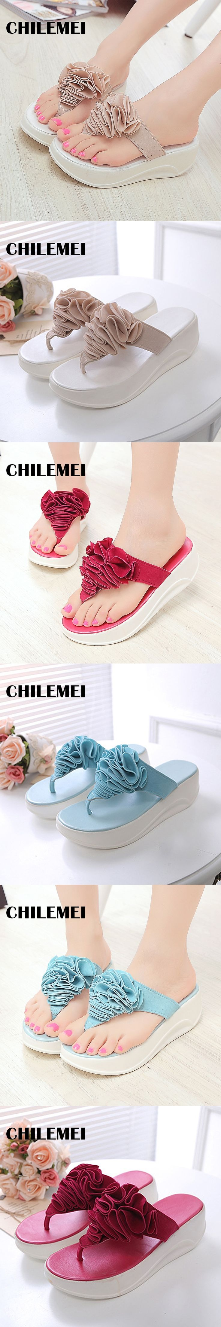High Heel Slippers Platform Sandals Ladies Wedges Sandals Brand Flip Flops Summer Waterproof Shoes Women Beach Slippers