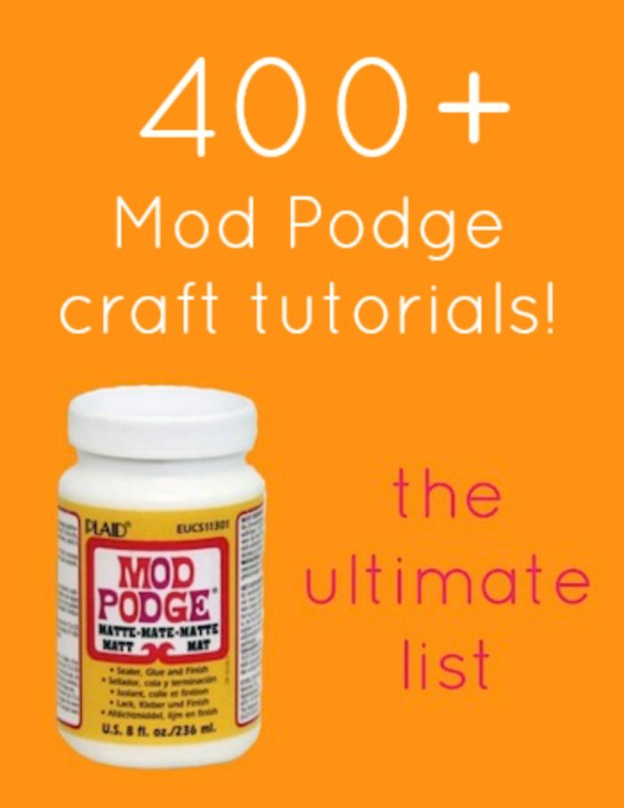 Get over 400 projects - all the Mod Podge crafts you'll ever need! If you have never used it before or used it for years, you'll find the right DIY project to fit your needs here. Helpful if you are wondering how to use Mod Podge. Canvas, furniture, paper, glass, photos, and more!