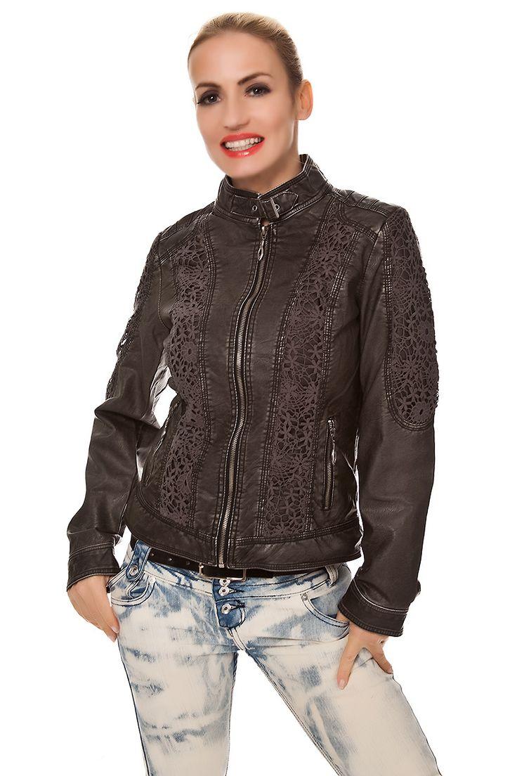Damen #PU-Jacke #Lederimitat mit Blumen Spitze