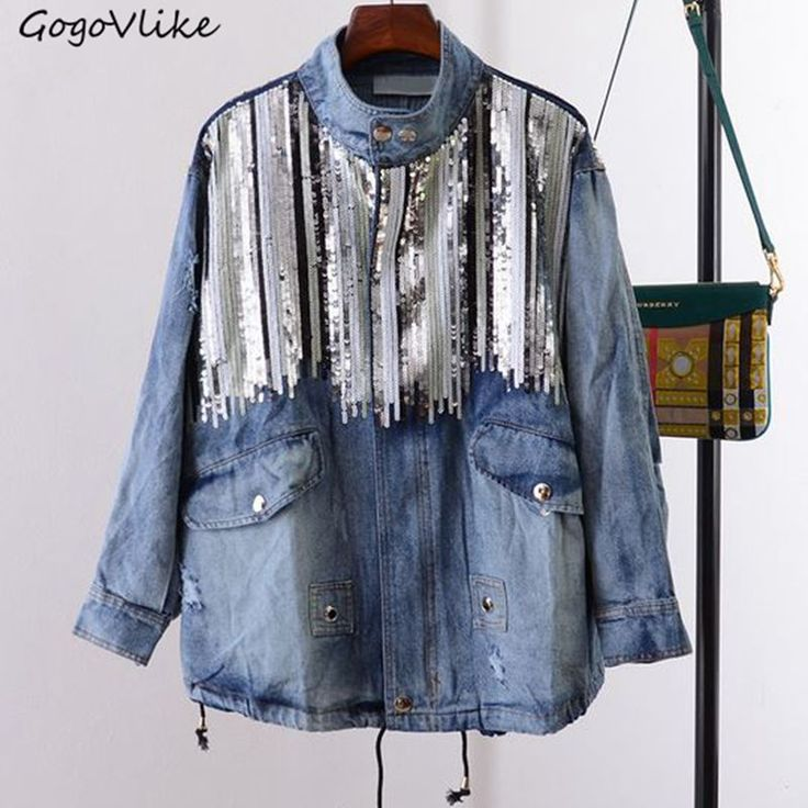 Cheap coats fall, Buy Quality coat blouse directly from China coat baby Suppliers: Blue bling sequin  jean jacket loose  women unique loose beading paillette denim coat hip hop streewear LT223