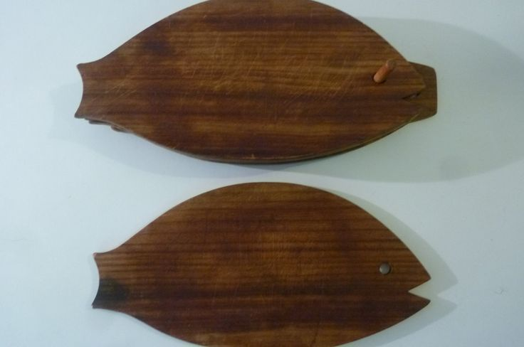 Danish Modern Cutting Boards Set of 5 Midcentury Teak Wood Fish Serving Plates and Wall Hanging Caddy 1970s by ZoomVintage on Etsy