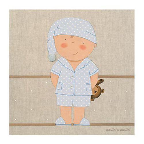 CUADRO NIÑO PIJAMA CELESTE. Cuadro tipo lienzo con imagen de niño en pijama Celeste. El Lienzo en Lino niño es una propuesta ideal para decorar la habitación de los más pequeños consiguiendo un aire romántico y un toque de ternura.