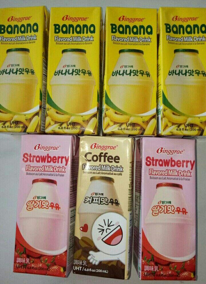 Banana milk, strawberry milk and coffee milk