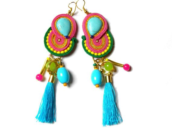 long soutache earrings with tassels