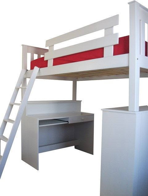 the coolest loft bed with so much space underneath