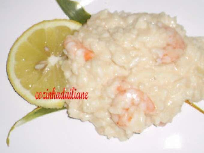 Risoto de camarão e limão siciliano