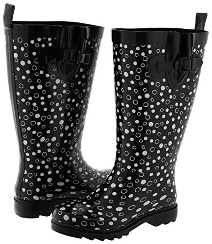 Capelli New York Ladies Tall Rubber Rain Boot Dots Black Combo 9 -- Click image to review more details.