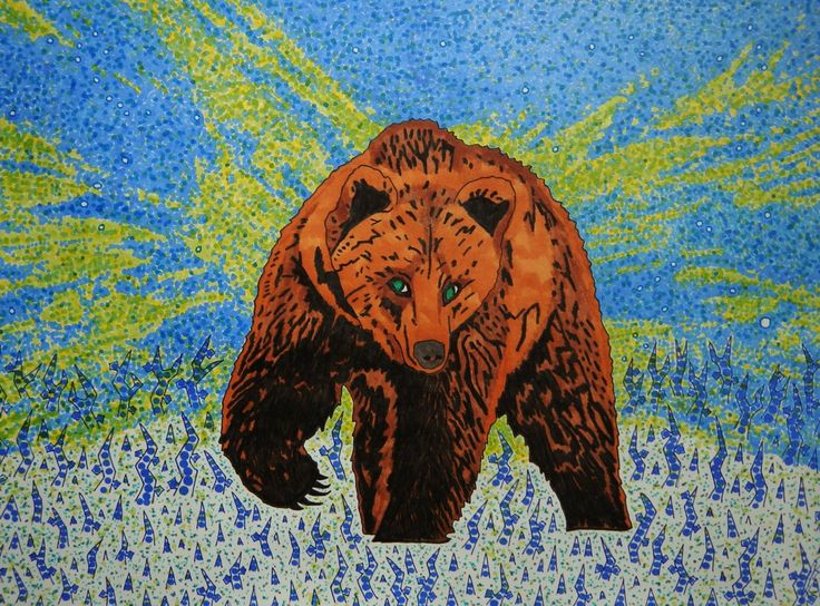 Opal eyed brown bear in northern lights