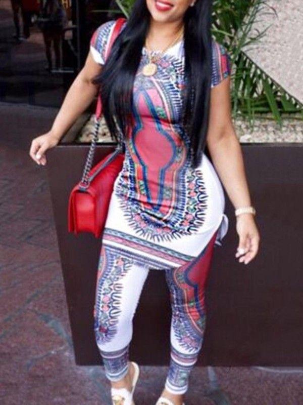 Women Ethnic Style Totem Pantsuit Set
