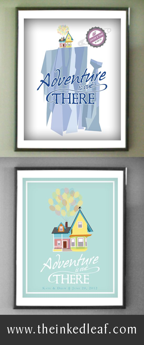 """Personalized """"Adventure is Out There"""" Up-inspired home decor prints from The Inked Leaf on Etsy. #anniversary #giftidea"""