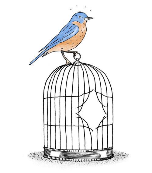 Illustratie door Gemma Pauwels. Geïnspireerd op Bukowski's Bluebird. Logo voor de praktijk van Manja Kamman (hulp bij ongewenste gewoontes en verslavingen). www.manjakamman.nl