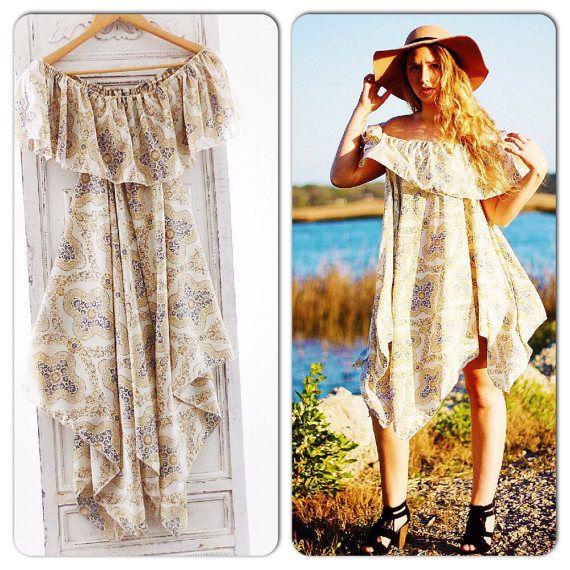 Med Boho Sundress Off The Shoulder Gypsy Soul Spring Summer