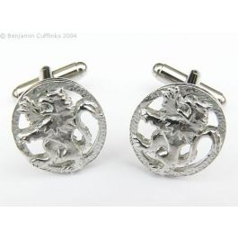 Lion Rampant (polished) Cufflinks - Imported directly from Scotland these cufflinks are made from polished Pewter