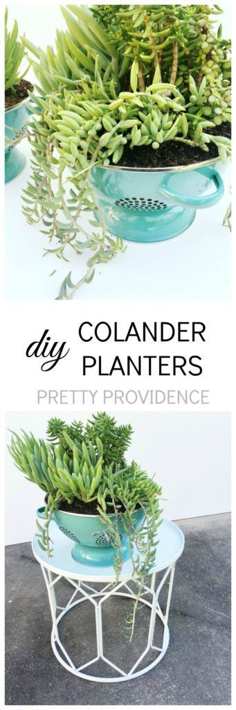 This DIY Colander Planter is SO cute and so easy to make!! Part of a retro patio makeover! #athomefinds #ad
