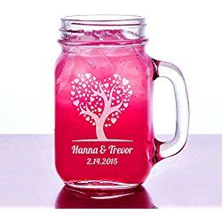 Love Heart Tree Valentines Day Gift Idea Engraved Mason Jar 16 Oz Glass with Handle Mug Personalized Drinking Glass Etched with Name and Date for Wedding, Engagement Anniversary Gift of Favor for Newlyweds Couple Etched Laser Engraved His and Hers Couple Gift Idea