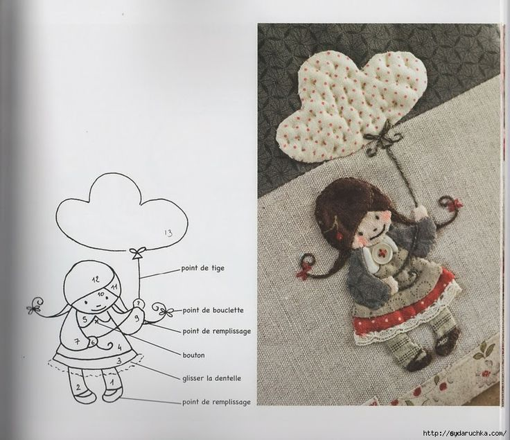 Adorable quilted little girl with embroidered details.