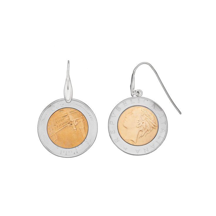 Sterling Silver Italian Lira Coin Drop Earrings, Women's