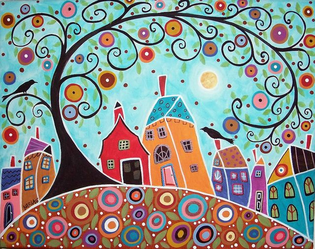 original folk art abstract acrylic and oil painting on stretched canvas by Karla G