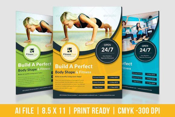 Fitness Club Flyer by Dotnpix on @creativemarket