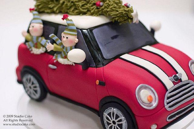 Mini Cooper Christmas Elves