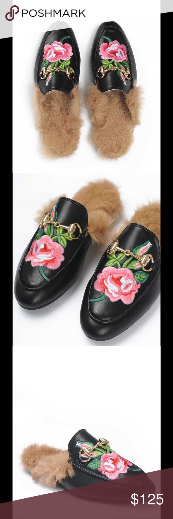 Princetown rose embroidered fur loafer Please specify size. Shipping will take approximately two weeks Shoes Flats & Loafers