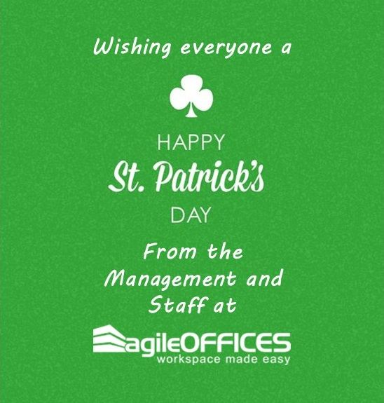 Lá fhéile Pádraig sona duit! Happy St. Patrick's Day to our clients & friends at Agile Offices! #green #lucky #Irish