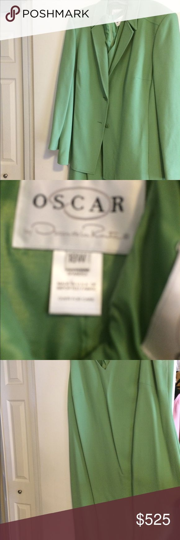 Oscar De La Renta dress suit! Worn once! Size 18W. BLACK FRIDAY SALE!!!! Beautiful Oscar De La Renta dress suit in celery green. Fully lined. 95% wool. Size 18W. Originally $1950!!!! Own now for a fraction of the cost! Great buy! Dress is sleeveless and has a V neck. Back zipper. Wear the dress alone or with the jacket. You can also switch it up and pair the jacket with slacks or another dress! Dresses