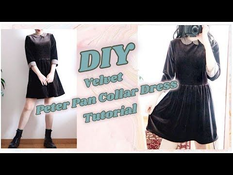 DIY Velvet Peter Pan Collar Dress / 手作り服 / 옷만들기 / 手作教學ㅣmadebyaya - YouTube