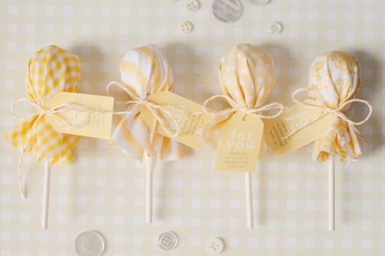 Easy personalized Party Favors Fabric wrapped around cuppa chupps. Tie with some twine and a cute little label xxx