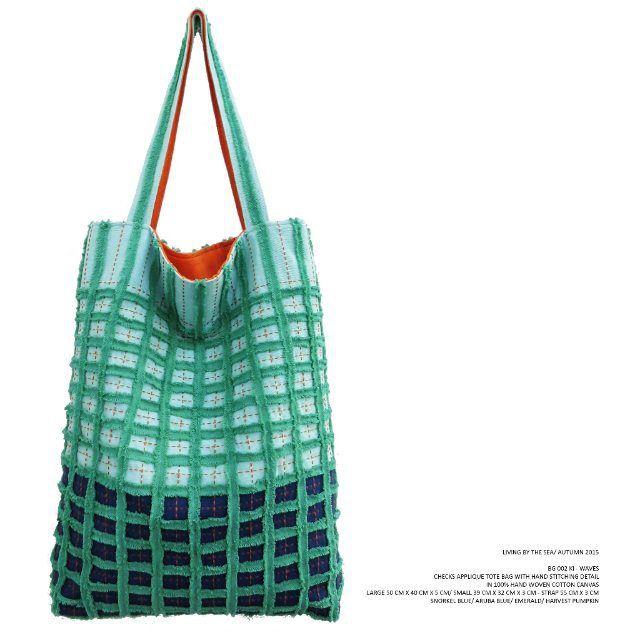 KAMI - BG 002 KI WAVES Checks applique tote bag with hand stitching detail in 100% hand woven cotton canvas . Snorkel Blue/ Aruba Blue/ Emerald/ Harvest Pumpkin . Available in large (50 cm x 40 cm x 5 cm) & small (39 cm x 32 cm x 3 cm) . #checksapplique #totebag #waves #livingbythesea #autumn2015 #kamithelabel #localbrandid