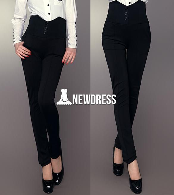 Fashion Women Solid High Waist Skinny Slim Pencil Pants Trousers OL Career Wear