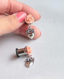 Tunnel - Plug perzik roos met heilig hart