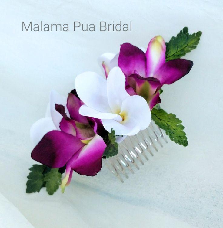 TROPICAL HAIR COMB, Hair accessory, Tropical, Orchids, Headpiece, Hawaiian, Hair flower, Beach Wedding, Fascinator,  hair piece, bridal clip by MalamaPuaBridal on Etsy