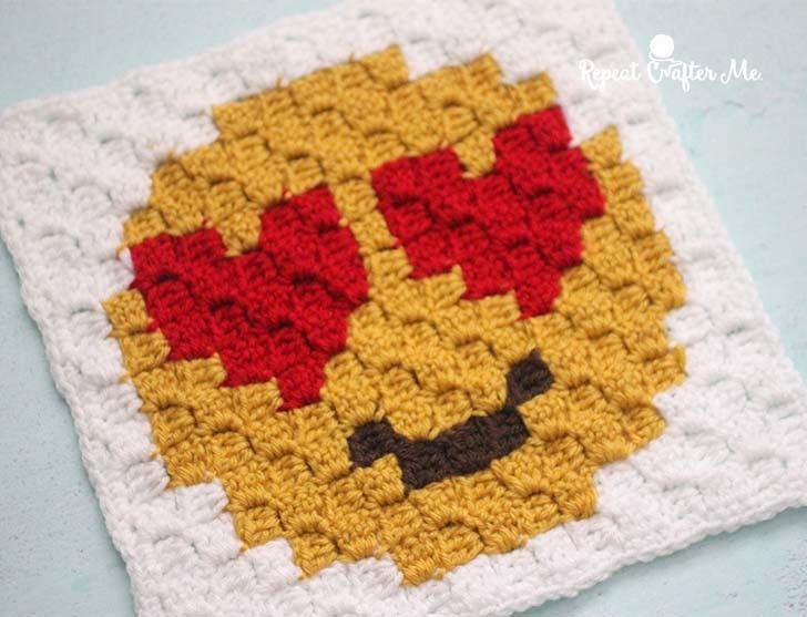 Heart Eyes Emoji C2C Crochet Square and Pixel Graph