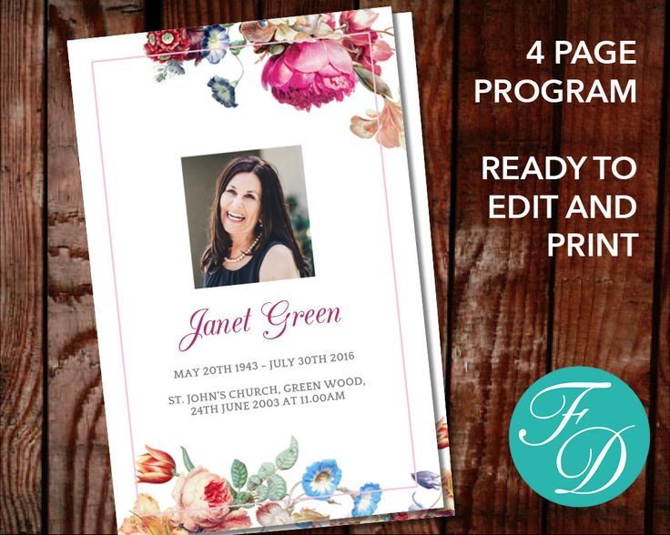 Funeral program template, order of service, memorial program, memorial service (Flowers) by FuneralDesigns on Etsy