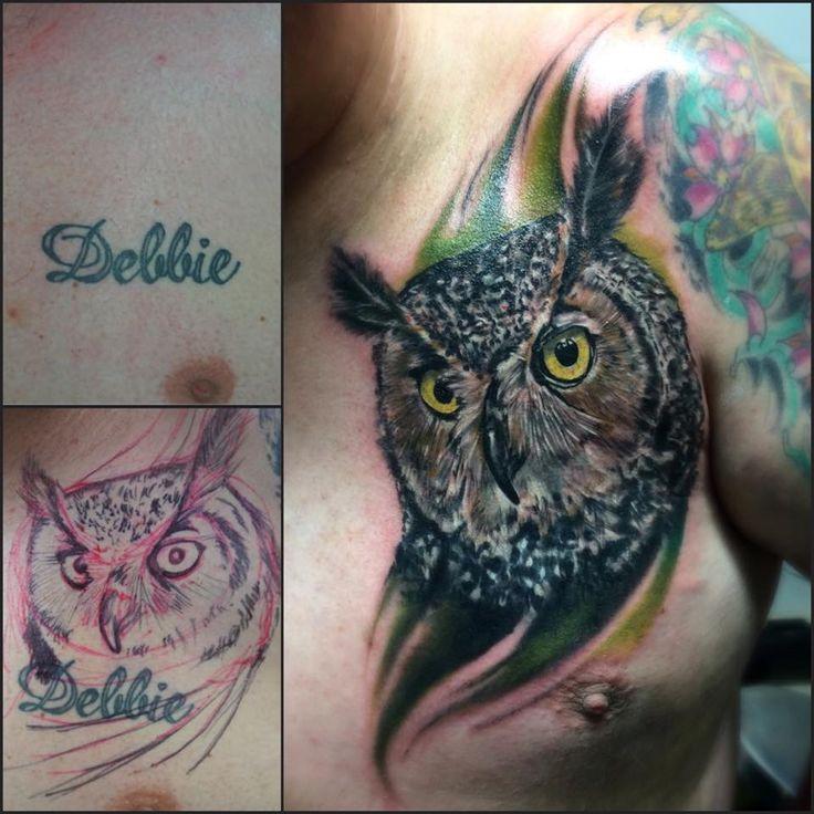 Owl tattoo Chest tattoo