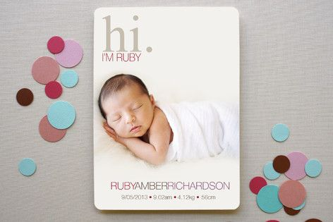 Subtle Ruby Birth Announcements by Alysha Field at minted.com