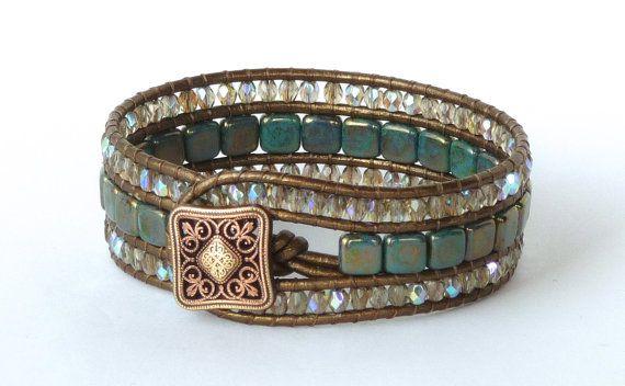 Beaded leather, cuff bracelet, turquoise, tile beads, kansa, metallic leather, boho chic, Chan Luu style