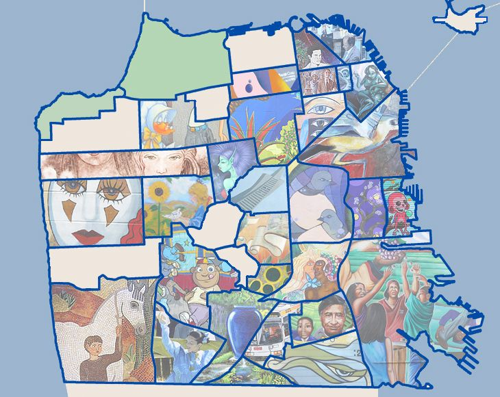 A map indexing all of the street murals by neighborhood in SF.