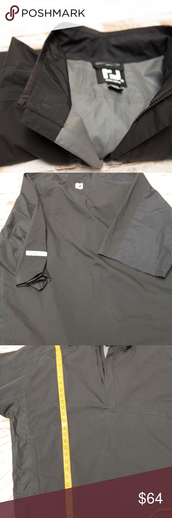 """Footjoy FJ HydroLite Black Dryjoys ½ Zipped Short Footjoy FJ HydroLite Dryjoys ½ Zipped Short Sleeve Golf Jacket – 2XL  Men's Regular 2XL  Color: Black  Made in China  Measurements:  Shoulders: 26"""" [seam to seam]  Chest: 58"""" [armpit seam to armpit seam – 29""""]  Length: 31"""" [top of shoulders to bottom hem]  Is Pre-owned in excellent condition. No stains, No hole, no rip. Clean and no odors.   Water Resistant  A durable, water repellant finish keeps you dry in a mist or light rain.  Raglan…"""
