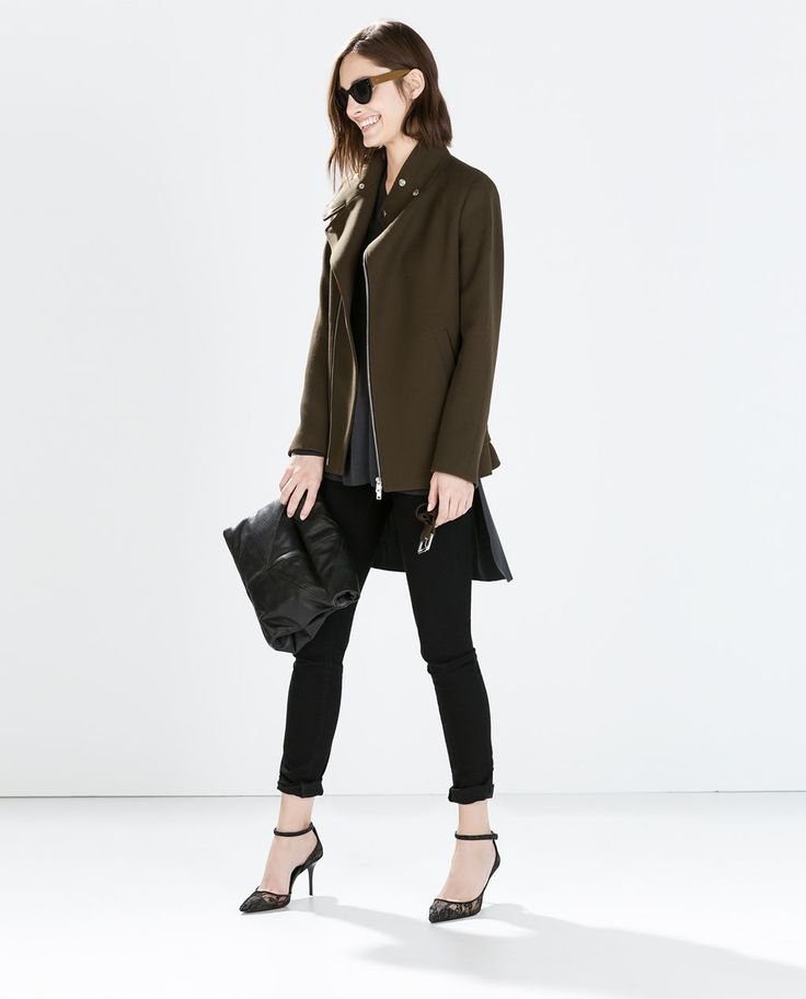 Image 1 of BELTED ZIP COAT from Zara