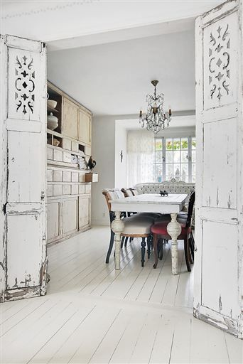 White antique doors, table