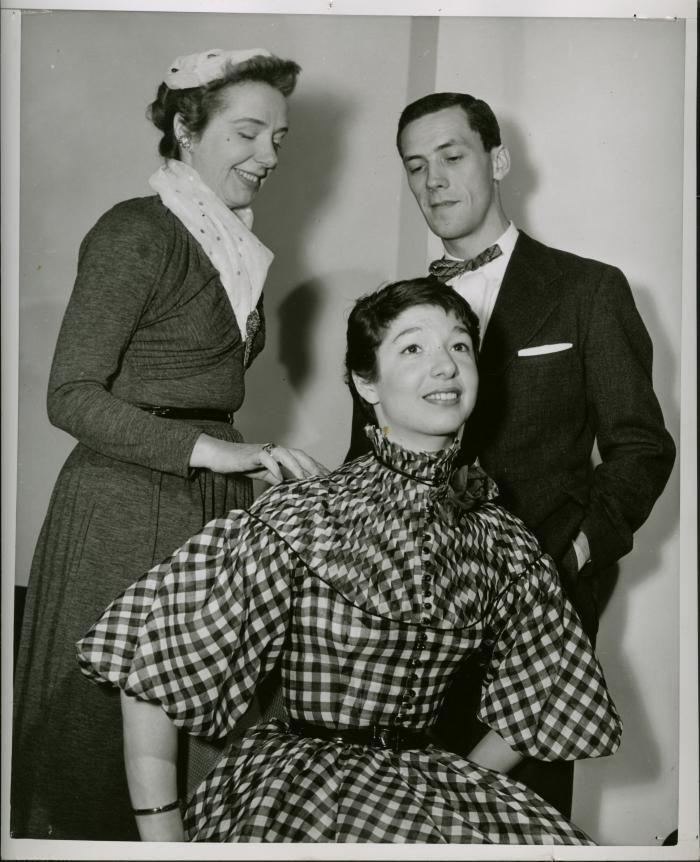 Fashion Show Judges Claire McCardell and Gold Thimble, and winner James Bechtold, 1952