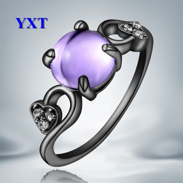 Fashion Style 18K Black Gold Oval Purple Opal Zircon Finger Rings Wedding Engagement Women Fashion Elegant Gift Size 6,7,8-in Rings from Jewelry on Aliexpress.com | Alibaba Group