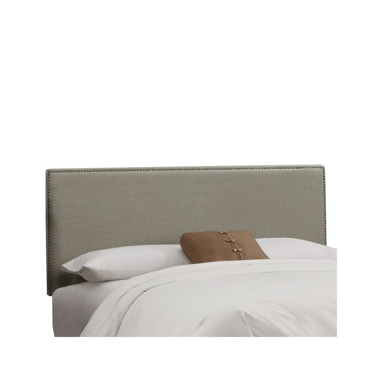 Skyline Arcadia Nailbutton Linen Headboard - California King - Skyline Furniture, Linen Gray