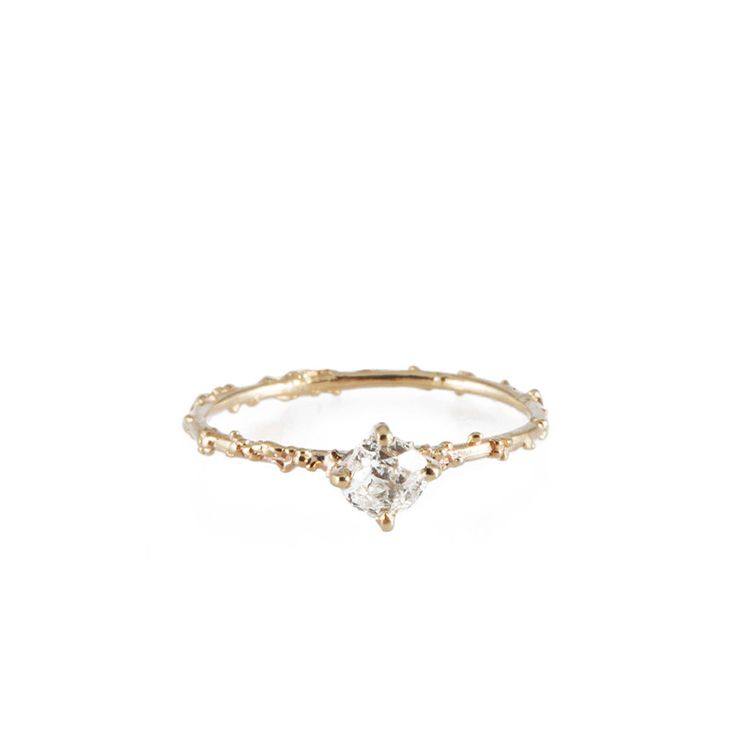 ONE OF A KIND irregular cut diamond solitaire by Michelle Oh