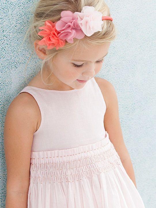 Mädchen-Kleid für Blumenmädchen, gesmokt ZARTROZA