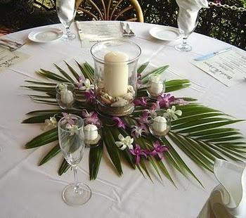 Idée centre de table : idée à garder la feuille de palmier - le reste non
